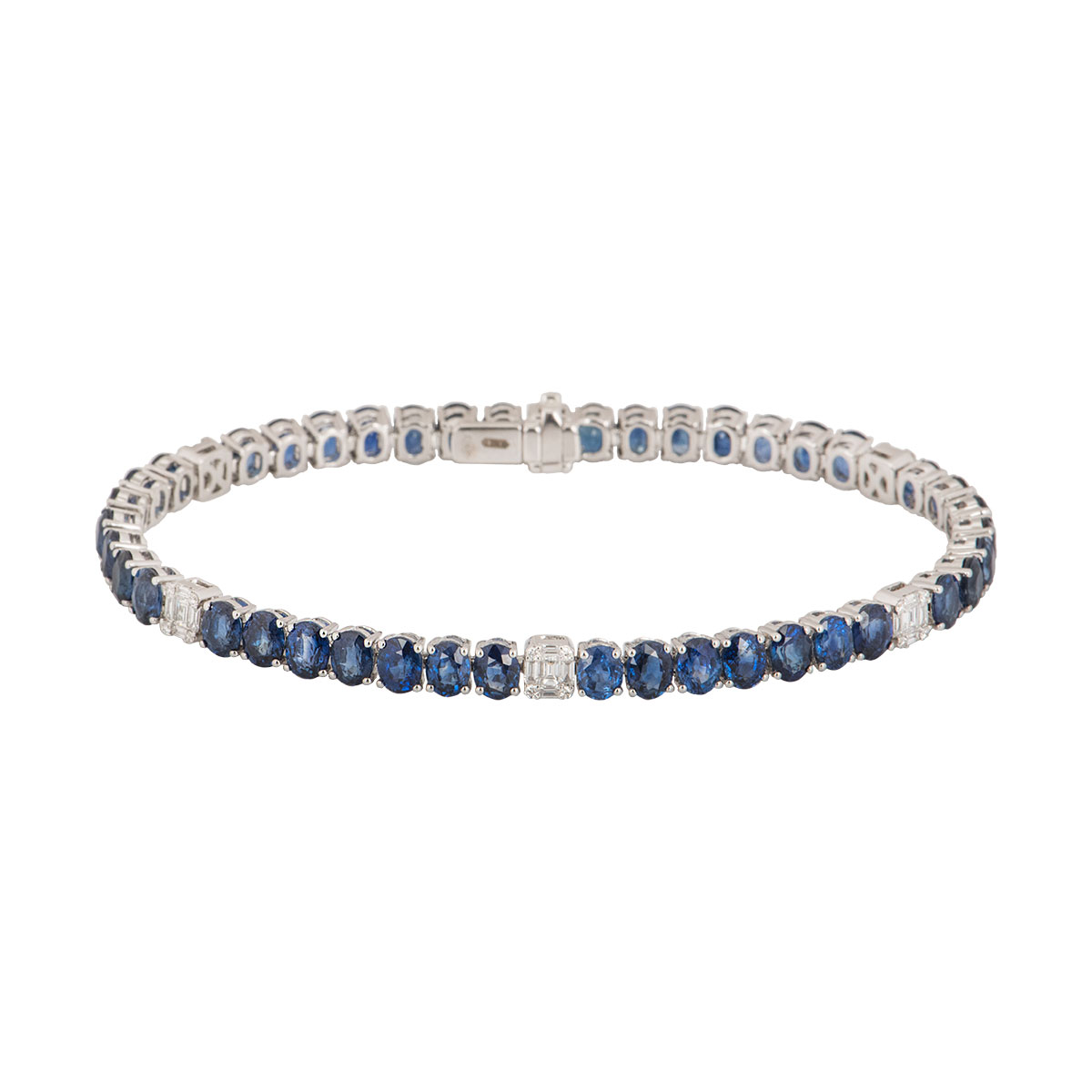 White Gold Sapphire and Diamond Line Bracelet